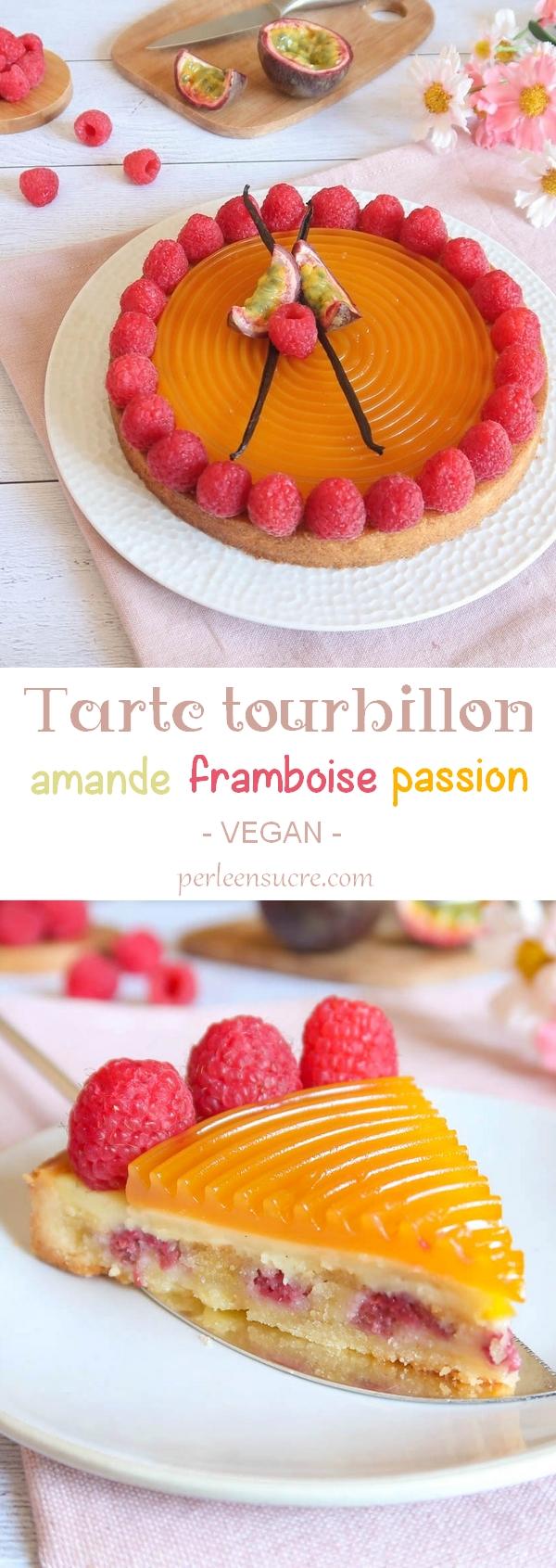 Tarte tourbillon amande framboise passion {vegan}